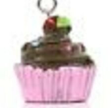PINK & BROWN CHOCOLATE CUPCAKE - CLIP ON CHARM FOR BRACELETS - S/PLATE-NEW