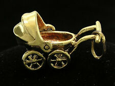C027 Genuine 9K Solid Yellow Gold Detailed Movable Baby Pram Charm 3D + jumpring