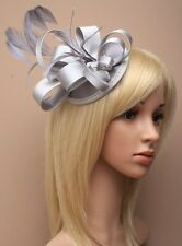 Large Silver Satin Hat Fascinator Clip Feather Ladies Day Races Wedding Ascot