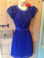 Vintage 40s 50s Style Blue WW2 Tea Dress Ruffle Rockabilly Jive Landgirl 10