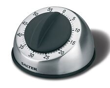 Salter 60 Minute Kitchen Timer - Stainless Steel & Black Cooking Timer 338SSBKXR