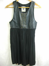 One Teaspoon Size 8 Black Leather Top Designer Dress chic and sexy