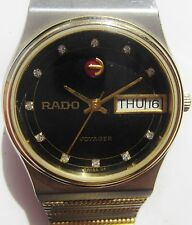 Gents 1980s Two Tone Rado Voyager Automatic Day Date Watch Serviced Warranty