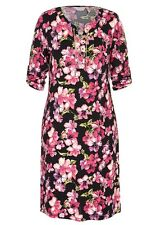 Gold chain lace up Neck 3/4 sleeve Pink floral stretch dress size 22 NEW