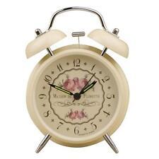 Vintage Rose Doppel Glockenwecker Beige Glocken Quarz Nachtlicht Wecker NEU