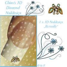 5 Diamond 3D Butterfly Swarovski Edelstein Naildesign - Nagelschmuck - Sticker