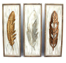 Metal Hanging Wall Art Feather Modern Home Garden 3 Panels BIG *3 x 90 cm*