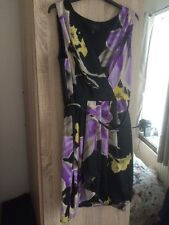 BNWOT Coast Lahna Black/purple Faux Wrap Belted Silky Dress Size 16 Cost £135