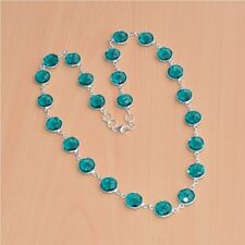 925 SOLID STERLING SILVER FACETED TEAL BLUE QUARTZ LONG NECKLACE JEWELRY