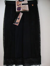 NEW M&S ROSIE FOR AUTOGRAPH WAIST SLIP WITH LACE & SILK TRIMS SIZE 8 BLACK