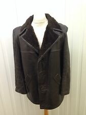 """Mens Vintage Faux Fur Lined Leather Coat - 46"""" Chest - Brown - Great Condition"""