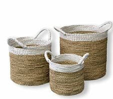 Seagrass Basket Set of 3 White Rim Woven Natural with Handles Pot Cover Storage