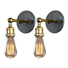 2Pcs Modern Vintage Retro Industrial Wall Light Fixture Rustic Sconce Fitting