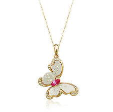 18K ROSE GOLD PLATED GENUINE PINK SWAROVSKI CRYSTAL & PEARL BUTTERFLY NECKLACE