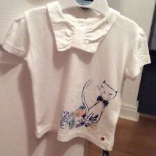 Baby Girls M&S Autograph Bow Graphic Cat Print T-Shirt with Modal 9-12 Mths BNWT
