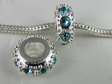 GORGEOUS SP SPACER WITH AQUA BLUE RHINESTONES FOR EUROPEAN STYLE CHARM BRACELETS