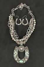 M&F Western Womens Jewelry Necklace Earrings Horseshoes Silver 30482