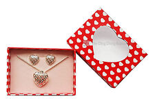 """Avon """"Tegan"""" Necklace & Earrings Heart Shaped Gift Set with diamante detailing"""