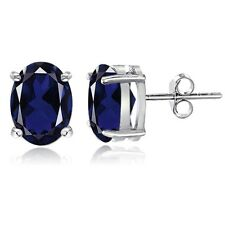 Sterling Silver Created Blue Sapphire 6x4 Oval Stud Earrings