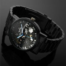 Men Self-winding Skeleton Dial Automatic Mechanical Stainless Steel Watch BDAU