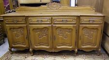 VINTAGE FRENCH LOUIS XV STYLE CARVED OAK 4 DOOR/4 DRAWER SIDEBOARD (001306)