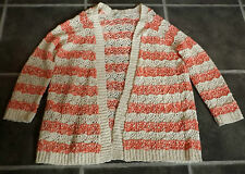 LADIES MISS SELFRIDGE CREAM & CORAL STRIPED KNITTED LONG CARDIGAN UK 10 CHEST 44