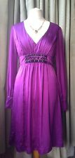 Monsoon 100% Silk Empire Line Cocktail Party Dress with Black Beads - Size 14