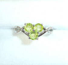 0.91ct Genuine Peridot & Diamond Solid 925 Sterling Silver Ring