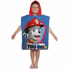 PAW PATROL PAWSOME HOODED TOWEL PONCHO - CHILDRENS 100% OFFICIAL