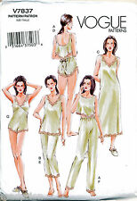 VOGUE SEWING PATTERN 7837 MISSES 6-14 LINGERIE - CAMISOLE TEDDY TOP SHORTS PANTS