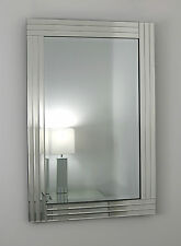 """Gracita Silver Glass Framed Rectangle Bevelled Wall Mirror 36"""" x 24"""" Large"""