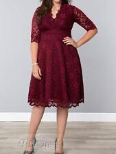 Plus Size Dress - Dress V Lace Evening Party Races Size 4XL