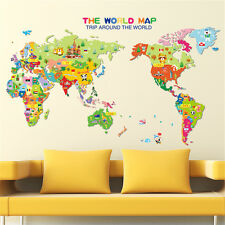 Cartoon Child World Map Home Room Decor Removable Wall Sticker Decal Decoration