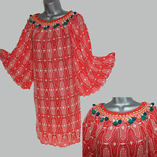*MONSOON*Red Embroidered Embellished Kimono Sleeve Tunic Dress M Formal Casual