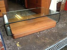 RETRO GHOST GLASS COFFEE TABLE WITH WOOD BASE  UNUSAL DESIGN