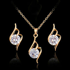 New Fashion Rhinestone Necklace Earrings Set Crystal Charm Women Wedding Jewelry