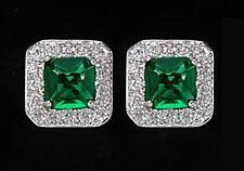 925 ECHT SILBER RHODINIERT *** Ohrstecker 8x8 mm,  Zirkonia smaragd grün