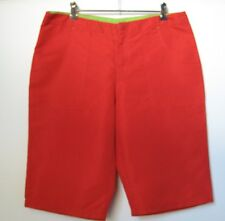 Ladies RED Microfibre shorts Green trim Size 12 Now