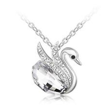 New Silver Swan Pendant with Clear Swarovski Crystals Chain Necklace Jewelry