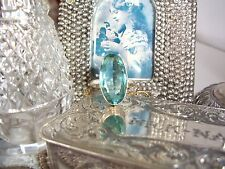 EXQUISITE 10CT NATURAL AQUAMARINE RING ~ SIZE 6.5 ~ STERLING SILVER STAMPED 925
