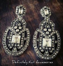 Stunning vintage Gatsby art deco white crystal statement dangling stud earrings