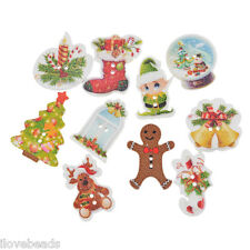 50PCs Cardmaking XMAS Christmas Wood Button 2-Holes Scrapbooking Craft