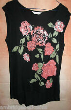 Ladies Urban Size 12 Sleeveless Top Rose Floral Front