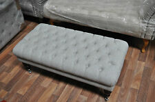 """24"""" X 37"""" X 16"""" BUTTONED CHESTERFIELD FOOTSTOOL FABRIC ASTON 12 YELLOW COLOUR"""