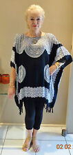 New Black and White  Sequined Kaftan Top Casual or dressy plus size 14-24