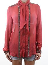 FRENCH CONNECTION beautiful terracotta 100% SILK embellished blouse size 10 38