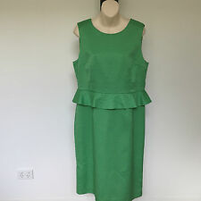 'LAURA ASHLEY' BMWT SIZE '14' GREEN SLEEVELESS TEXTURED WEAVE LINED DRESS