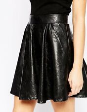 ASOS True Decadence Black Faux Leather Look PU Skater Skirt Size 10