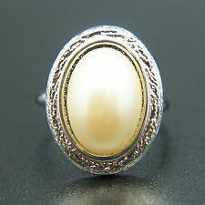 14k white Gold plated vintage pearl oval ring Adjustable size 5 6 7 8 9 10