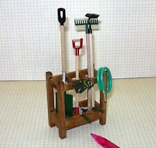 Miniature Reutter Petite Garden Tools Stand, Filled: DOLLHOUSE 1/12 Scale